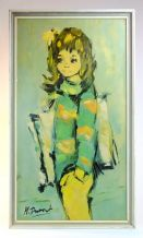 Retro 1970's Large Eyed Girl Print By M Dupont